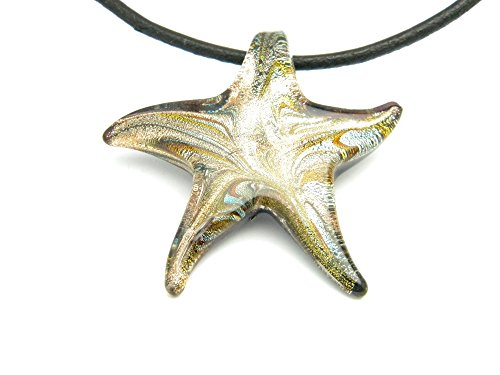 PlanetZia Creations Beautiful Green Dichroic Starfish Pendant on 18 inch Black Cord Necklace (Dichroic Glass Necklace)