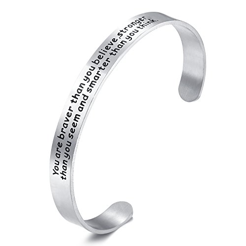 Udobuy Stainless Steel You're Braver Stronger Smarter than you think Inspirational Bracelet Expandable Cuff Bangle Gift for - Gifts Odd Valentine