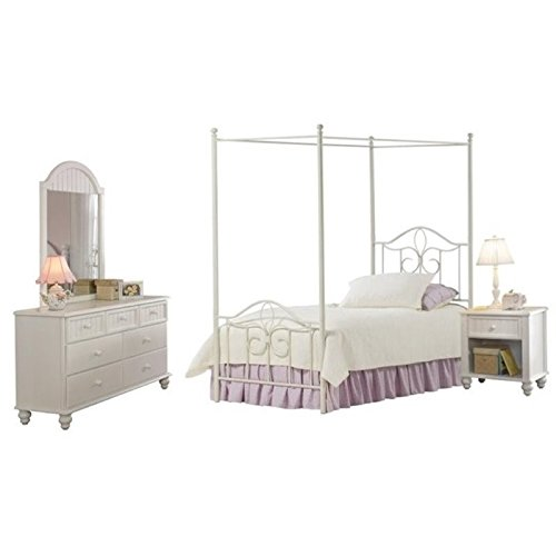 Bowery Hill 4 Piece Twin Metal Canopy Bedroom Set in Off White (Country Full Size Headboard)