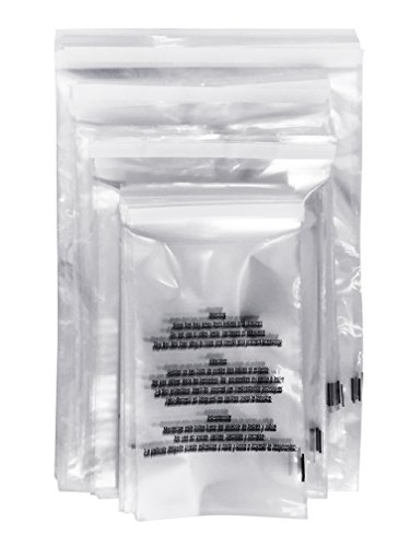 400 Poly Bags 1.5 MIL Variety Pack (100 Pack of Each) 5.75x9, 8x10, 9x12, 11x14 Adhesive Self Seal (Anti-Static) with Suffocation Warning - Foghorn Construction - Mil Anti Static Poly Bags