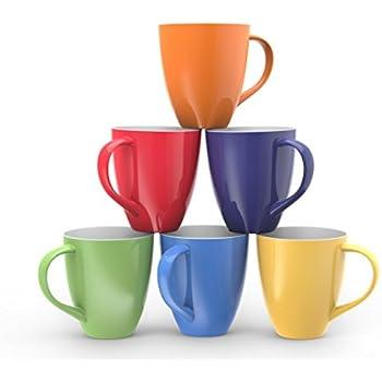 francois et mimi set of 6 large sized 16 ounce ceramic coffee mugs solid colorful - Colorful Mugs