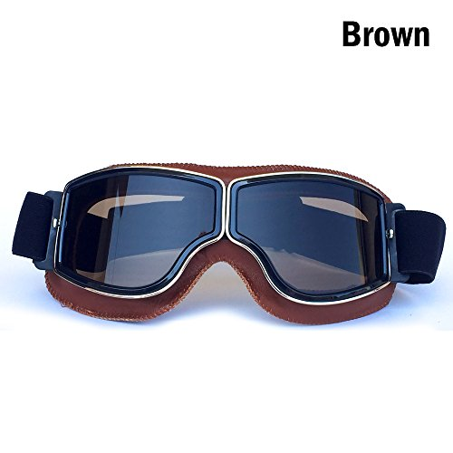 Eyewear Cocoons - HCMAX Vintage Goggles Sports Sunglasses Helmet Steampunk Eyewear for Outdoor Motocross Racer Motorcycle Aviator Pilot Style Cruiser Scooter Goggles Retro Brown Frame Brown Lens