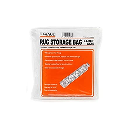 UHaul Rug Storage Bag Large Size Up to 6x9 (Clear Plastic Area Rug)