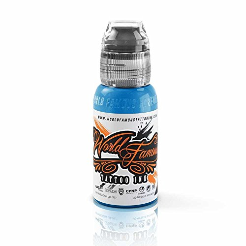 World Famous Tattoo Ink - Vegan-Friendly Professional Tattooing Inks - Bangkok Blue, 1 Ounce (Light Blue Tattoo Ink)