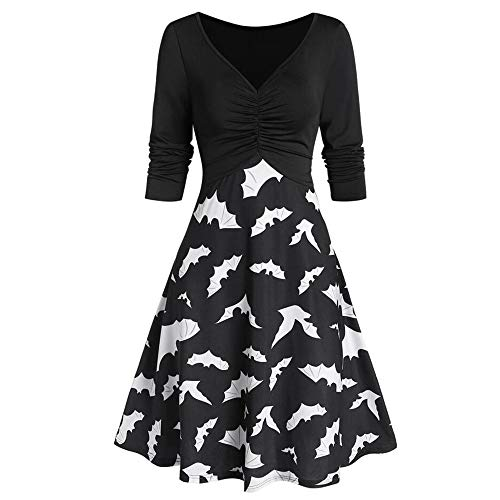 LOKODO Halloween Dresses Womens Vintage V Neck Long Sleeve Cocktail Swing Dress Cosplay Party Costume Black XL
