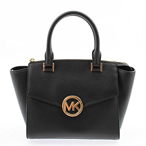 Michael Kors Hudson Medium Satchel in Saffiano Leather 35S6GHUS2L (Black)