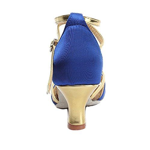 Hroyl Femmes Latin / Chacha / Samba / Jazz / Chaussures De Danse Moderne Satin Salle De Bal 805 5cm Bleu