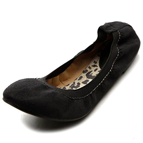 Ollio Womens Ballet Shoe Cute Comfort Faux Suede Multi Color Flat Black 8C8SKn