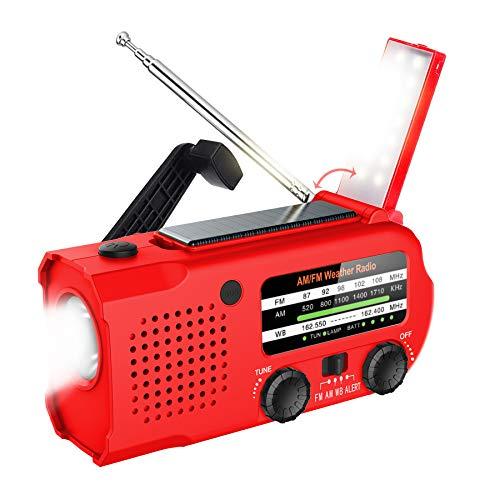 Lukasa Emergency Hand Crank Portable AM/FM/NOAA Weather Radio, 2021 Newest 5000mAh Rechargeable Solar Radio with LED Flashlight, Phone Charger, Reading Lamp,SOS Alarm