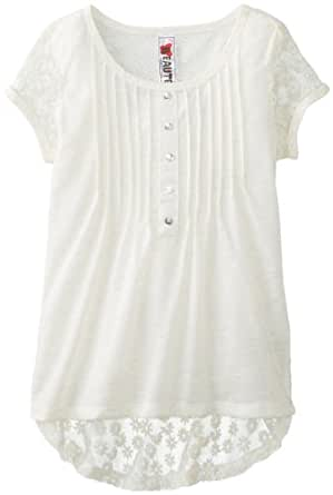 Beautees Big Girls' Short Sleeve High-Low Top with Lace Sleeves and Back, Natural, Small