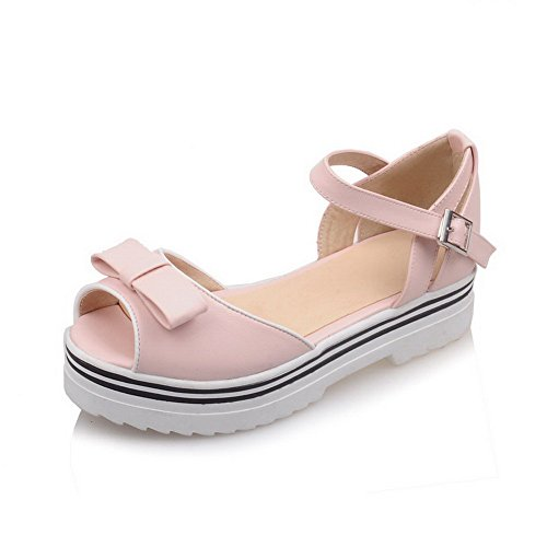 AmoonyFashion Womens Solid Low Heels Buckle Peep Toe Platforms & Wedges Pink PAX8ZQ