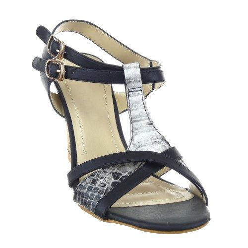Sopily - Scarpe da Moda sandali zeppa cinturino alla caviglia donna Pelle di serpente Tacco zeppa piattaforma 9 CM - Nero