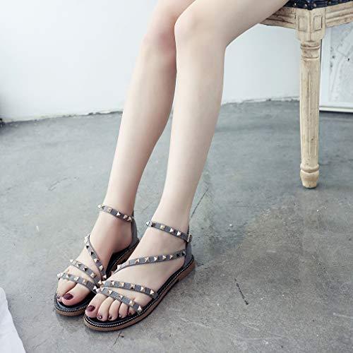 Cewtolkar Women Sandals Studded Shoes Flat Sandals Cross Strap Shoes Bohemia Sandals Loafers Shoes Roman Sandals Gray by Cewtolkar (Image #5)
