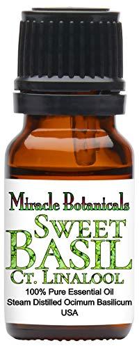 Miracle Botanicals Basil, Sweet ct. Linalool Essential Oil - 100% Pure Ocimum Basilicum - Therapeutic Grade - 10ml ()