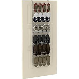 Simple Houseware Over the Door Shoes Rack Organizer, White