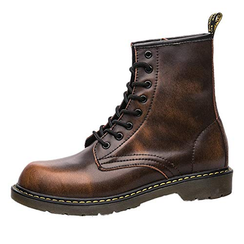 Men's Shoes HOSOME Men England Vintage Boots Motorcycle Boots Tooling Military Boots Gift for Boyfriend Coffee