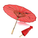 Partysanthe Chinese Cloth Floral Umbrella Wedding Dance Props - red