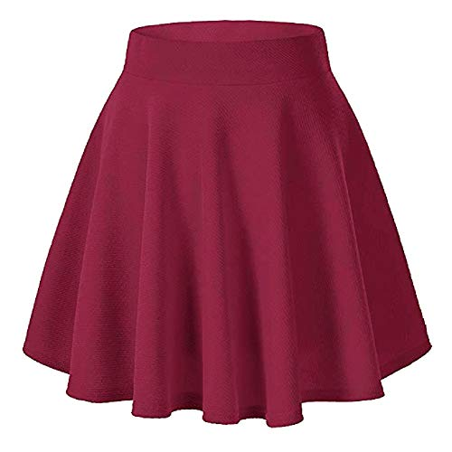 (Moxeay Women's Basic A Line Pleated Circle Stretchy Flared Skater Skirt (Medium, Wine Red))