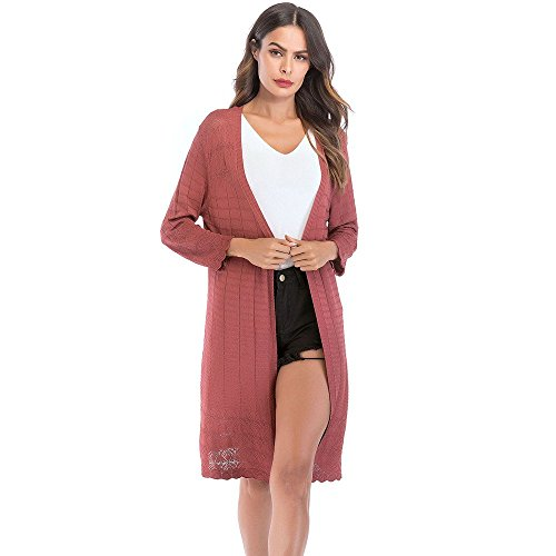 Women's Loose Gradient Solid Knit Cardigan Retro Long Sleeve Coat