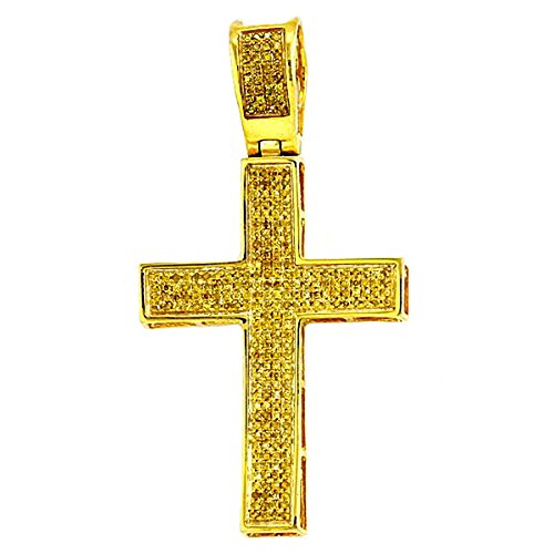 Dazzlingrock Collection 0.50 Carat (ctw) Yellow Plated Yellow Diamond Mens Hip Hop Religious Cross Pendant, Sterling Silver ()