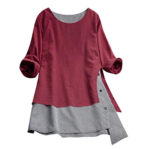 Mlide Plus Size Cotton Linen Lattice Splice Button Shirt,Womens Loose Hooded Drawstring Tops Blouse With Pocket (Z_Red, Size:XXL-US:12)
