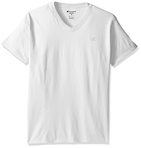 Champion T0221 Mens V-Neck Tee - White - L T0221