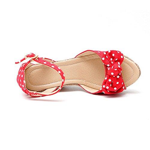 Amoonyfashion Kvinnor Öppen Tå Spänne Blandningsmaterial Prickar Höga Klackar Sandaler Röda
