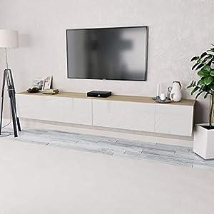 Festnight 2 pcs Meuble TV Banc TV en Aggloméré avec Rangement 120 x 40 x 34 cm Chêne et Blanc Brillant