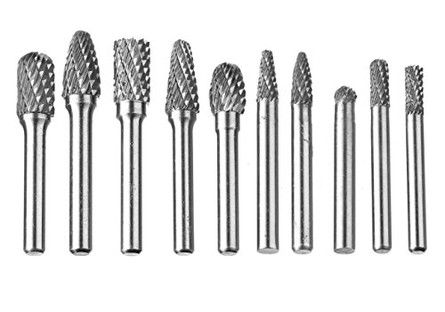 Carbide bur, Drillpro 10 PCS Burs 1/4-Inch(6mm) Shank Cutter Tungsten Carbide Rotary Burr Set