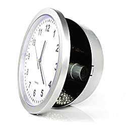 COPACHI Wall Clock with Hidden Personal Storage Space, 10 Inch Round Quartz Clock Large Black Figures Live with Battery Operated Idea for Home,Kitchen and Decorations-Sliver