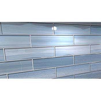 Big Blue Glass Tile Perfect For Kitchen Backsplashes And Showers Sample