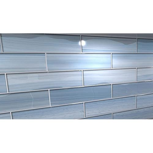 """50%OFF Big Blue 3x12 Glass tile Perfect for Kitchen Backsplashes and showerss, 3""""x12"""" Sample"""