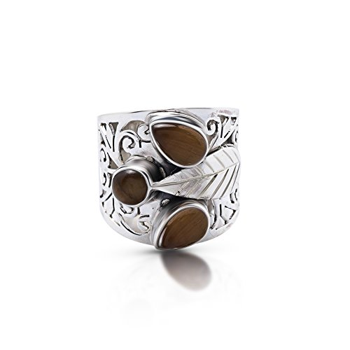 Oval Tigers Eye Cabochon Ring - Koral Jewelry Tiger Eye 3 Stones Leaves Lace Ring 925 Sterling Silver US Size 7 8 9 (9)