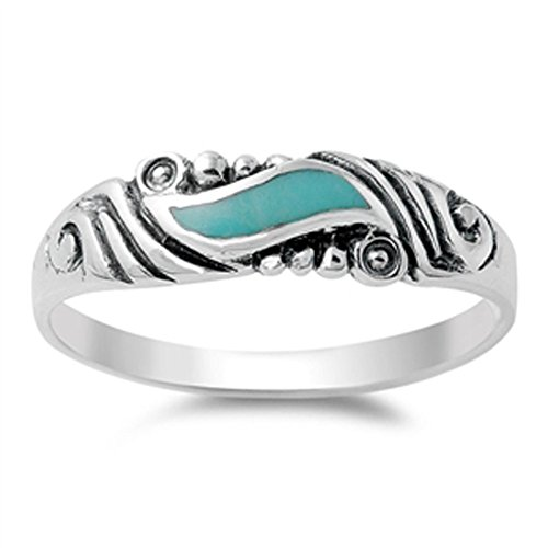 (Women's Wave Simulated Turquoise Cute Vintage Ring New 925 Sterling Silver Band Size 5 )