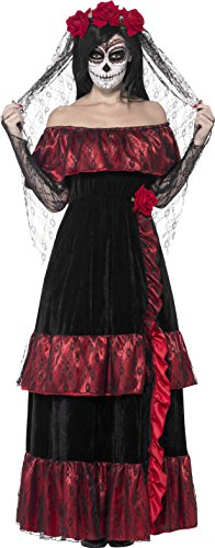 Halloween Costumes Day Of The Dead - Smiffy's Women's Day of the Dead Bride Costume, Dress and Rose Veil, Day of the Dead, Halloween, Size 10-12, 43739
