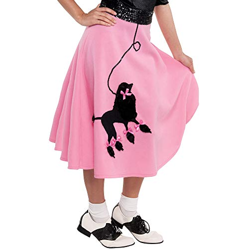 amscan Fabulous '50S Costume Party Poodle Skirt - Adult Standard, Pink, Fabric, 41 1/2