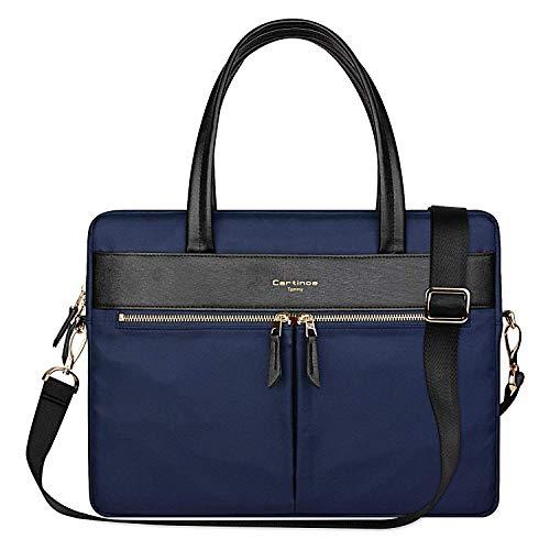 Cartinoe Laptop Tote Bag, Women Waterproof Laptop Bag Briefcase RFID Blocking Ultrathin Nylon Business Ladies Work Handbag Shoulder Messenger Carrying Bag for 14 15 inch MacBook Ultrabook, Blue