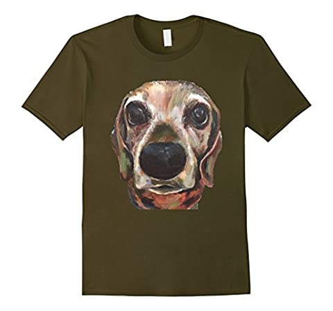 Mens Weiner Dog Dachshund Original Art T-Shirt Small Olive - Weiner Green T-shirt