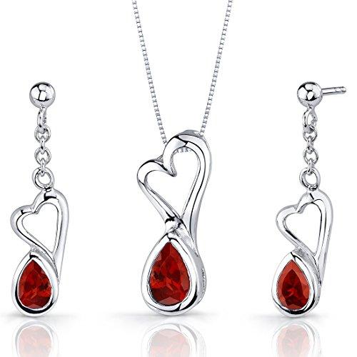 Heart Design 2.00 carats Pear Shape Sterling Silver Rhodium Nickel Finish Garnet Pendant Earrings Set