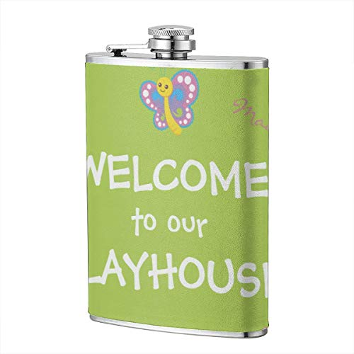 Jhgsjnsf Girls Playhouse Welcome Doormat Flagon 8 OZ Leather Printed Stainless Steel Hip Flask for Drinking Liquor E.g. Whiskey, Rum, Scotch, Vodka Rust Great Gift