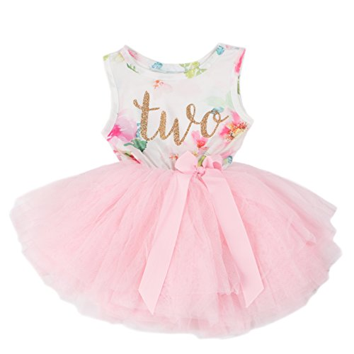 Grace & Lucille Pink Floral Sleeveless Toddler Birthday Dress (Gold, 2t)