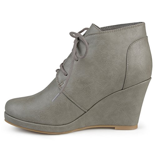 Journee Collectie Dames Lace-up Faux Leder Vegan Ronde Neus Lace-up Sleehak Booties Grijs