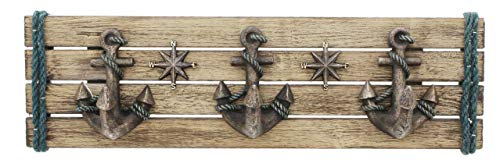 Nautical Anchor Wall Hook Plaque with 3 Hooks