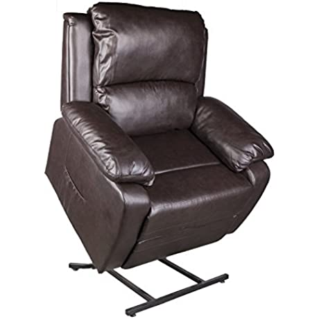 LCH Electric Deluxe Bonded Leather Power Lift Recliner Chair For Seniors 5 Point Massage 1 Motion Comfort Living Room Sofa Chair Brown