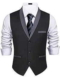 Men's V-Neck Sleeveless Slim Fit Vest Jacket Fashion Single-Breasted Business Suit Dress Vests
