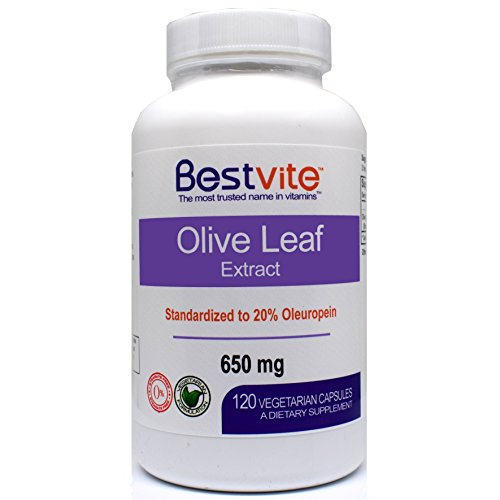 Olive Leaf Extract 650 mg (120 Vegetarian Capsules) – Standardized to Contain 20% Oleuropein – No Stearates – No Fillers – No Flow Agents For Sale