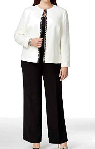 Tahari ASL Women's Plus-Size Leonard Pant Suit, Cloud/Black, 24W