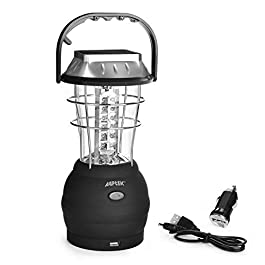 AGPTEK Solar Lantern, 5 Mode Hand Crank Dynamo 36 LED Rechargeable Camping Lantern Emergency Light, Ultra Bright LED Lantern – Car Charge – Camping Gear for Hiking Emergencies Hurricane Outages