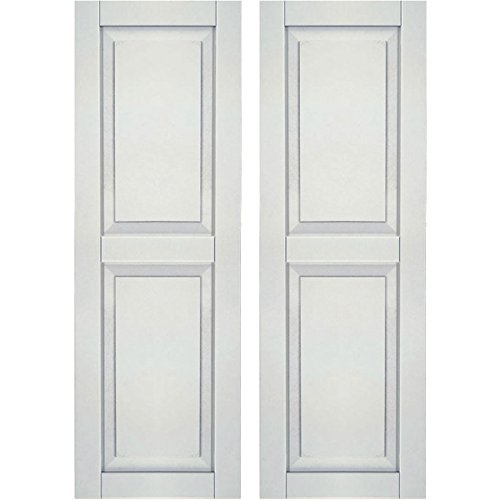 "Ekena Millwork CWR12X025WHC Exterior Composite Wood Raised Panel Shutters with Installation Brackets (Per Pair), White, 12""W x 25""H"