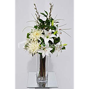 Silk Blooms Ltd Artificial White Chrysanthemum and Oriental Lily Floral Arrangement w/Pussywillow and Foliage 43